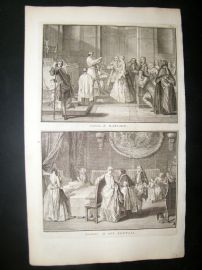 Picart C1730 Folio Antique Print. Religious Catholic Marriage, Benediction